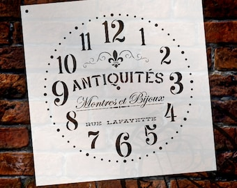 Provincial Round Clock Stencil - French Antique Words - DIY Paint Wood Clock Small to Extra Large Farmhouse Country Home Decor - SELECT SIZE
