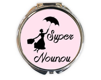 """Great nanny"" silver plated Pocket mirror, picture 5cm diameter"