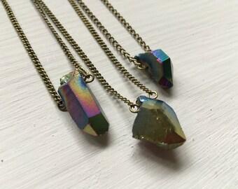 Small Titanium Aura Quartz Shard Necklace