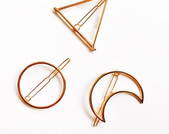 Gold Triangle Hair Clip, Moon Barrette, Circle Hair Clip, Gold Bobby Pin, Barrette, Gold Hair Clasp, Metal Hair Accessory, Gift for Her