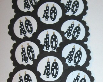 40th Birthday Cupcake Toppers/Party Picks Item #1709