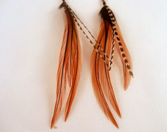 feather earrings hand made Grizzly fun furnace