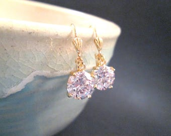Cubic Zirconia Earrings, White and Gold Dangle Earrings, FREE Shipping U.S.