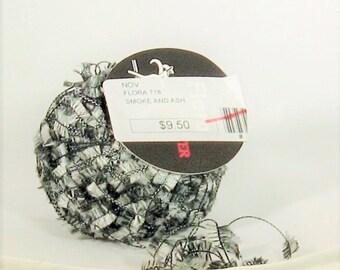 Flora 718, Trendsetter, Smoke and Ash, black, greys, flags, novelty yarn, destash