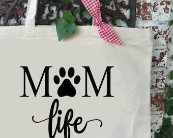 Fur Mom Life Large Canvas Tote Bag - Cat Mom Life Shoulder Tote - Dog Mom Life Reusable Shopping Bag - Book Bag -  Gift Idea