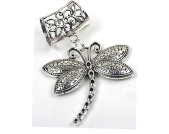 Scarf Pendant Silver Pewter Dragonfly Slide Charm (e7447)
