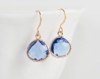 Sapphire Gold Earrings, September Birthstone Sapphire Gold Dangle Earrings, September Birthday Gift, Gold Earrings, Bridesmaid Jewelry #807