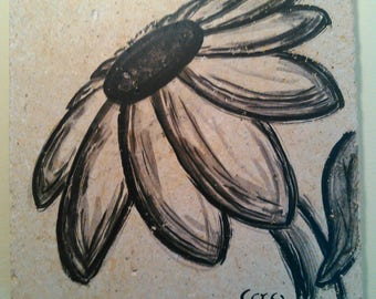 Sumi-E Flower on Stone wall hanging