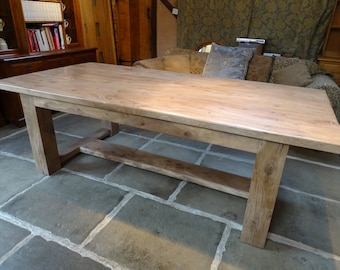 Solid English Oak and English Elm Refectory Table