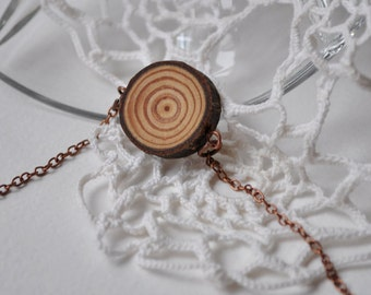 wood necklace  •  larch wood pendant  •  wooden necklace
