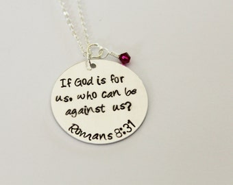 Romans 8:31 Hand-Stamped Necklace