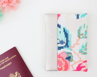 Passport Wallet, Travel Wallet, Travel Organizer, Passport Cover for 2 (Two), 3 (Three) or 4 (four) passports - Flowers