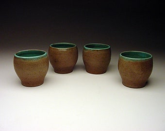 Listed Original 1956 Angelo Garzio (1922-2008) studio pottery Cups Yunomi Teabowl each SIGNED (4) TOTAL