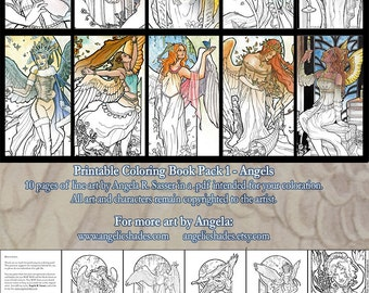 Printable Coloring Book Pack 1 - Fantasy Art Angels Pages to Color