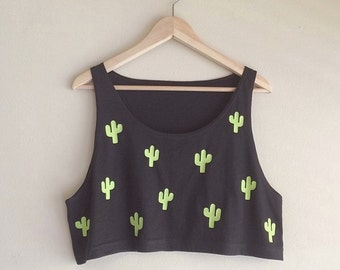 Cacti Loose Crop Tank - Made in USA by So Effing Cute