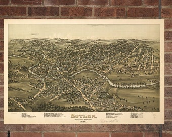 Vintage Butler Photo, Butler Map, Aerial Butler Photo, Old Butler Map, Butler Artist Rendering, Butler Poster, PA Artwork