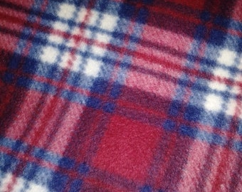 Red Plaid Fleece Fabric