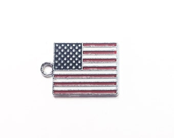 2-10 American Flag Charm. American Flag Pendant. Red, White, and Blue Enameled American Flag Charm.