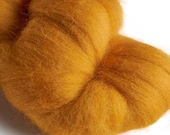 Merino Sunset Yellow Wool Roving 100 grams