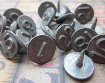 5 Vintage Metal Numbered Tacks