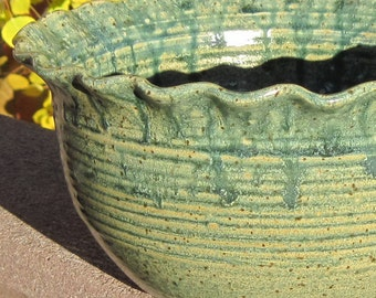 Serving Bowl with Wavy Rim in Aatique Blue - Handmade Pottery