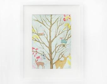 Print original art, frameable art - Dutch forest