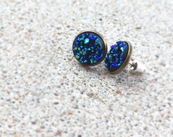 Galaxy Earrings - Navy Blue Stud Earrings - Galaxy Jewelry - Blue Sapphire Earring Studs - Hypoallergenic Stud Earrings - Faux Druzy Jewelry