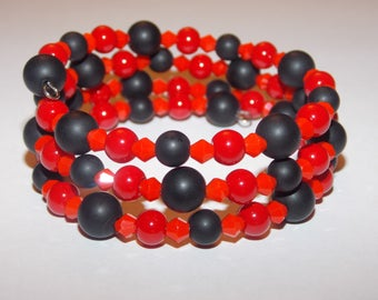 Red Coral and Frosted Black Agate and Red Crystal Memory Wire Wrap Bracelet