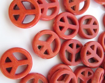 15mm Imitation TURQUOISE Peace Sign Beads in Antiqued Orange, 12 Pieces, Top to Bottom Hole
