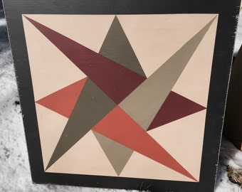 PriMiTiVe Hand-Painted Barn Quilt, Small Frame 2' x 2' - Laced Star Pattern