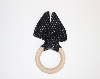 Wooden Teething Ring Toy // 3 inch Black & White Hearts // by Elle Lee + B