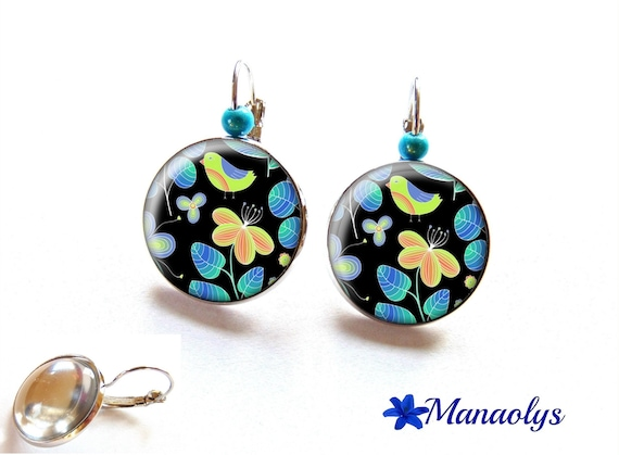Silver Stud Earrings, bird and flowers, yellow and blue glass 2372b round cabochons