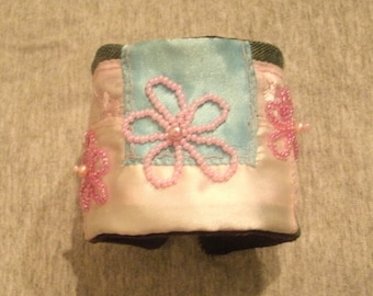 Denim ajnd Bead and Pearl Hand Embroidered Cuff Bracelet