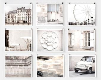 Fine Art Photography, Paris Gallery Wall Art Prints, White Paris Photography  Extra Large Wall Art, Paris Decor