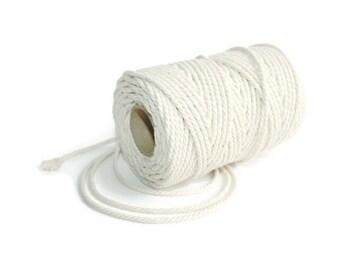 2.3 mm Cotton Rope= 1 Spool = 50 Meters= 55 Yards Natural and Elegant 100 % COTTON Twisted CORD - Macrame cord - Not bleached - No chemicals