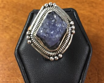 Rough Denim Lapis Stone Ring in Sterling Silver Size 9