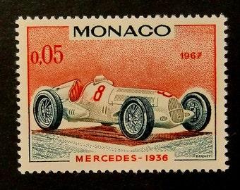 Mercedes 1936 Vintage Racing Car, Monaco -Handmade Framed Postage Stamp Art 14106AM