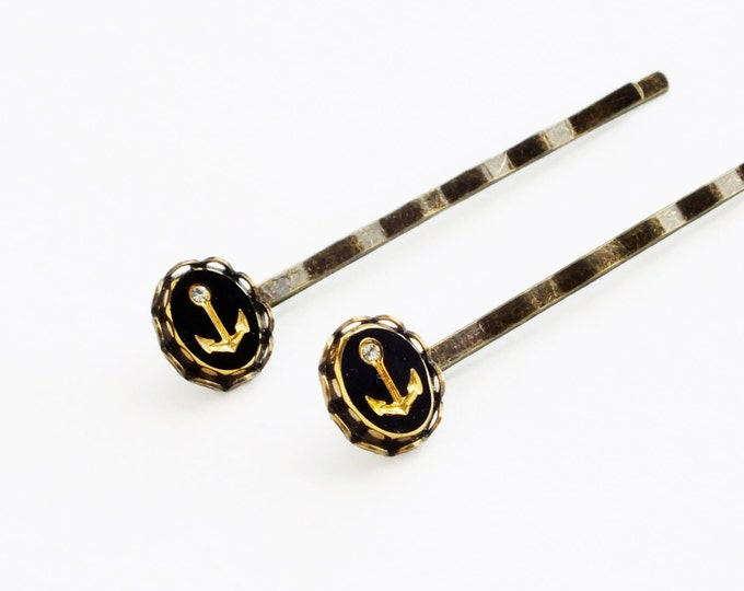 Anchor Hair Pins Nautical Bobby Pins Gold Black Rhinestone Hairpins Antiqued Brass Nautical Accessories