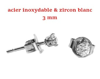1 pair of stainless steel & white 3 mm cubic zirconia chips