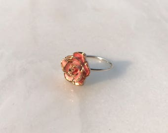 Pink Coral Porcelain Gold Dipped Rose Ring // Sterling Silver // Ceramic Cabochon // Size 5, 6, 7, 7.5, 8, 9 // Gift for Her //FREE SHIPPING