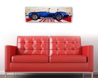 """Large Shelby Cobra Car Wall Art on Solid Wood Boards - 32"""" x 11"""" Automobile Decor"""