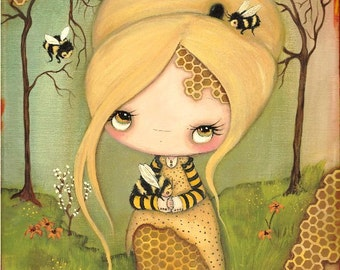 Bee Print Bee Girl Art Honeycomb Honey Bee Forest Save The Bees Wall Decor