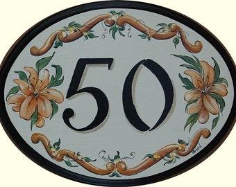 Custom House Address Sign, lg.oval name plaque w. tropical flowers