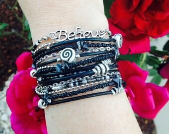 Multistrand Black Leather Wrap Bracelet - Silver Believe Charm - Tibetan Beaded Bracelet - Best Selling Item - Best Friend Gift