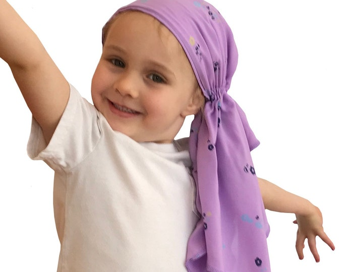 Featured listing image: Ava Joy Children's Pre-Tied Head Scarf, Girl's Cancer Headwear, Chemo Hat, Alopecia Head Wrap, Cancer Gift for Hair Loss Lavender Flowers