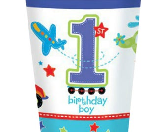8 Ct Strong 9 Ounce Paper Cups - Colorful All Aboard Transportation Theme - Birthday Boy - 1st Birthday