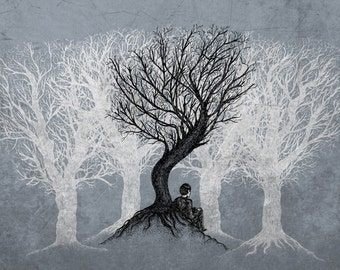 Beneath the Branches- A3 art print by Jon Turner- pen and ink artwork- FREE WORLDWIDE SHIPPING