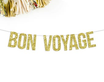Bon Voyage Banner   going away party   moving party   relocating party   party decor   cruise party   career change   party banner