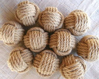 Set of 12 Nautical rope knots. Monkey fist.Natural hemp rope used. Great deal.