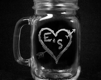 Country Wedding Mason Jar Mugs with Handle, Gifts, Favors (arrowmason)